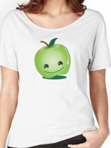 Apple green cutie funny face Women's Relaxed Fit T-Shirt