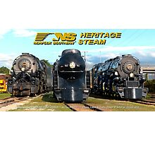 """The Big Three"" - Norfolk Southern Heritage Steam Photographic Print"