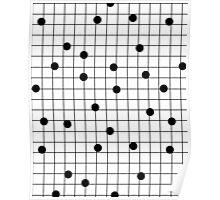 Dot Grid map art print black and white minimal modern pop trendy urban brooklyn design streets new york city subway Poster