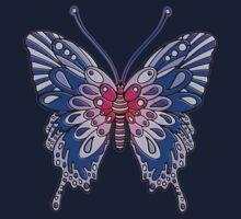 Original Butterfly Design Blue One Piece - Short Sleeve