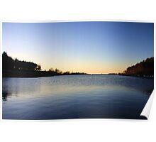 Sunset over reservoir Poster