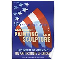 WPA United States Government Work Project Administration Poster 0365 American Painting and Sculpture Art Institute of Chicago Annual Exhibition Poster