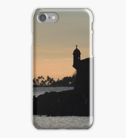 Sail boat and El Morro Castle at dusk iPhone Case/Skin