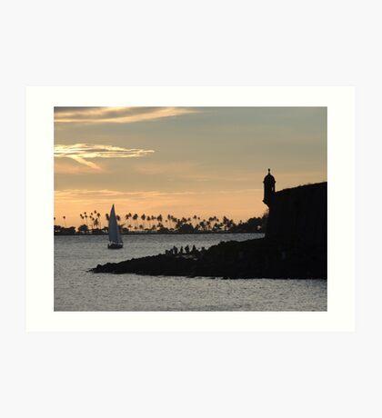 Sail boat and El Morro Castle at dusk Art Print