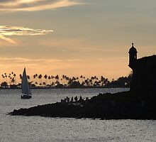 Sail boat and El Morro Castle at dusk by TereArzola