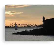 Sail boat and El Morro Castle at dusk Canvas Print