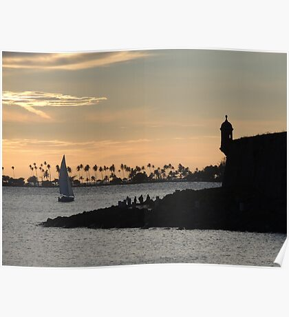 Sail boat and El Morro Castle at dusk Poster