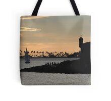 Sail boat and El Morro Castle at dusk Tote Bag