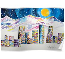 Denver Skyline....Christmas storm Poster