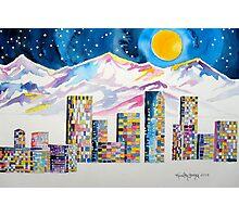 Denver Skyline....Christmas storm Photographic Print