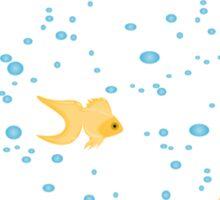 gold fish in water bubbles aqua  Sticker