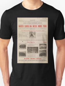 United States Department of Agriculture Poster 0070 North Carolina Needs More Pork T-Shirt