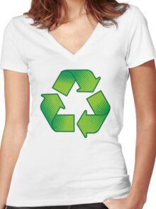 Recycling symbol Women's Fitted V-Neck T-Shirt