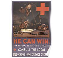 United States Department of Agriculture Poster 0127 He Can Win Federal Board Provides Training Red Cross Home Services Section Poster