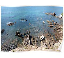 Sea Rock Formations Devon England Poster
