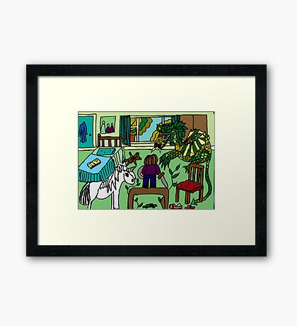 DRAGONS IN MY BEDROOM Framed Print