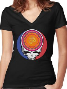 Grateful Dead Om Your Face Women's Fitted V-Neck T-Shirt