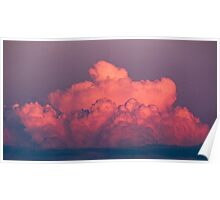 clouds in the sky at sunset colored rose Poster