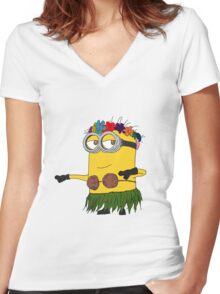 Hawai Minion ! Women's Fitted V-Neck T-Shirt