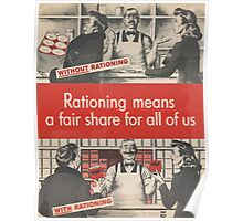 United States Department of Agriculture Poster 0137 Rationing Means a Fair Share for All of Us Poster