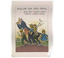 United States Department of Agriculture Poster 0114 Follow the Pied Piper School Garden Army Poster