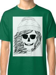 Skull girl in a hat with a flowing hair. Winter is coming. Classic T-Shirt