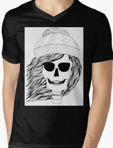 Skull girl in a hat with a flowing hair. Winter is coming. Mens V-Neck T-Shirt