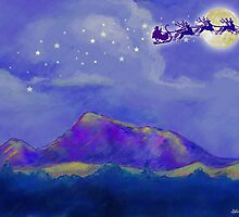Santa and Reindeer Fly Over Sonoma County by Julia Stege