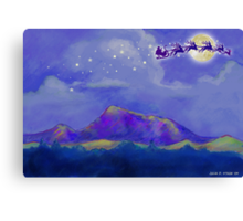 Santa and Reindeer Fly Over Sonoma County Canvas Print