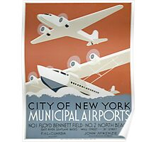 WPA United States Government Work Project Administration Poster 0339 New York City Municipal Airports Poster