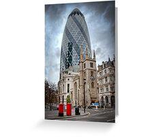 Moody Gherkin: London, UK. Greeting Card