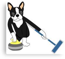 Boston Terrier Winter Olympics Curling Canvas Print