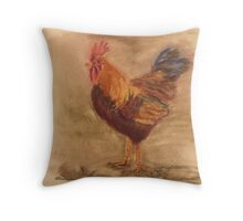 Rooster Sketch Throw Pillow