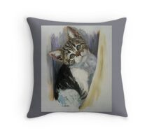 The Curtain Twitcher Throw Pillow
