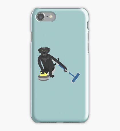 Black Labrador Retriever Curling iPhone Case/Skin
