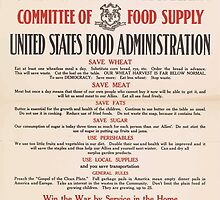 United States Department of Agriculture Poster 0200 Committee of Food Supply Save Wheat Meat Sugar Use Perishables by wetdryvac