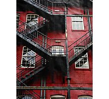 Stairs Running Along Red Wall - Ireland Photographic Print