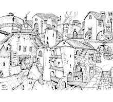 Strange Dream Village • Ink Drawing Art Print Photographic Print