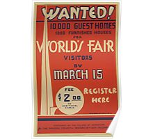WPA United States Government Work Project Administration Poster 0697 Wanted Guest Homes World's Fair Poster