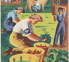 United States Department of Agriculture Poster 0147 Pitch in and Help Join Women's Land Army by wetdryvac