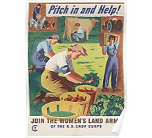 United States Department of Agriculture Poster 0147 Pitch in and Help Join Women's Land Army Poster