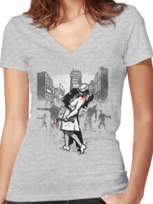 Z Day Zombies Women's Fitted V-Neck T-Shirt