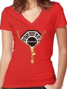 Dharma Zip Women's Fitted V-Neck T-Shirt
