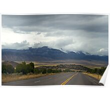 Mountain Clouds and Road Poster