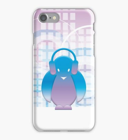 PENGUIN WITH HEADPHONE iPhone Case/Skin