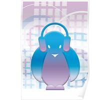 PENGUIN WITH HEADPHONE Poster