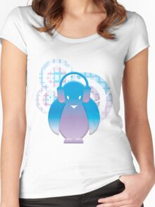 PENGUIN WITH HEADPHONE Women's Fitted Scoop T-Shirt