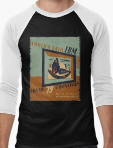 WPA United States Government Work Project Administration Poster 0745 World's Fair IBM Show Men's Baseball ¾ T-Shirt