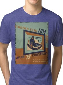 WPA United States Government Work Project Administration Poster 0745 World's Fair IBM Show Tri-blend T-Shirt