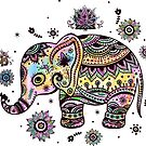 Cute Colorful Floral Baby Elephant by artonwear